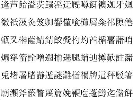 JIS90字形の文字(一部)