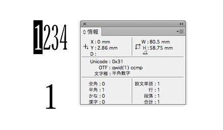 InDesignでは等幅4分字形が使える