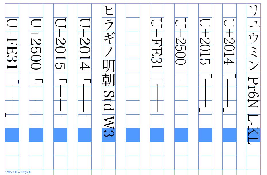 さまざまな文字が「ダーシ」として使われている